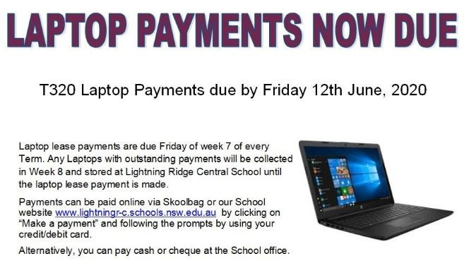 Laptop Payments Due Now